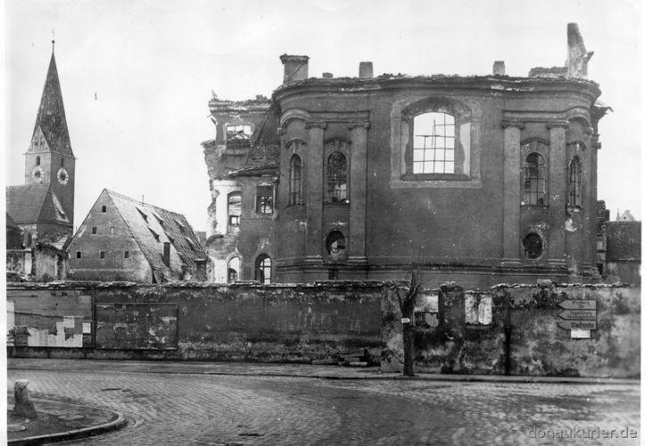 Untere Franziskanerkirche, Augustinerkirche von der Schutterstraße aus , Ingolstadt Zerstörungen im Zweiten Weltkrieg Sammlung Fegert et 8.04.1995